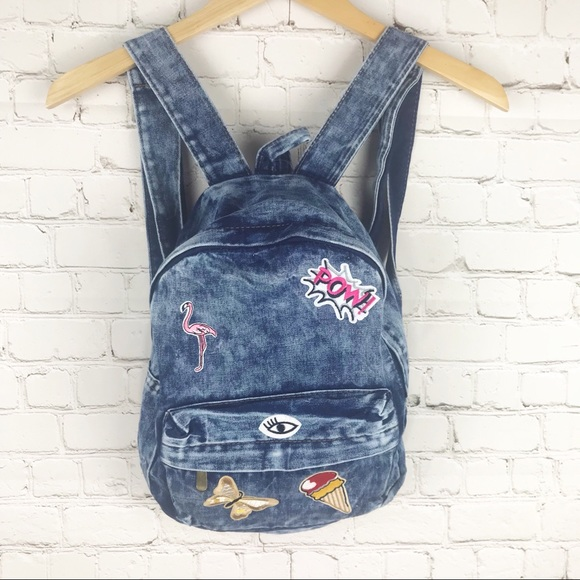 11b10f2fce93 Retro 90 s small patchwork backpack acid wash